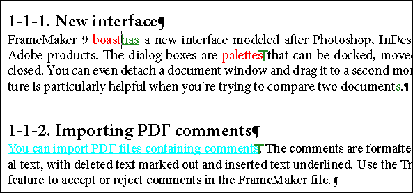 comments in FrameMaker