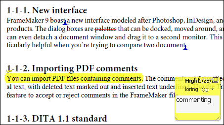 Comment markers in PDF