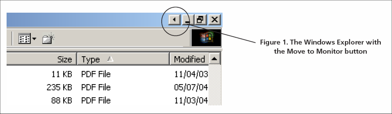 The Windows Explorer with the Move to Monitor button
