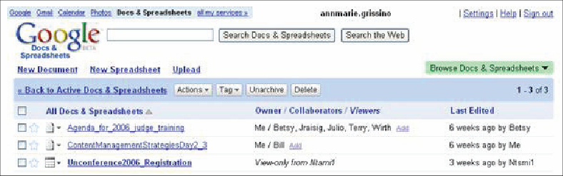 The Google Docs & Spreadsheets home page.