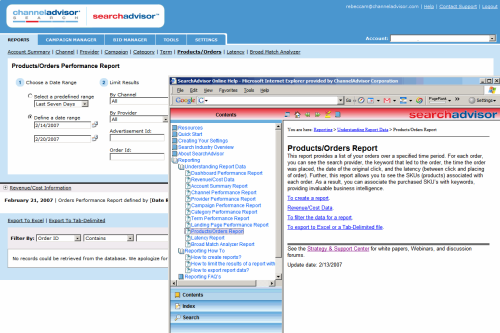 Search Advisor's Online Help (click for full-size image)