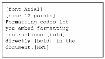 Figure 2. Text with formatting codes.